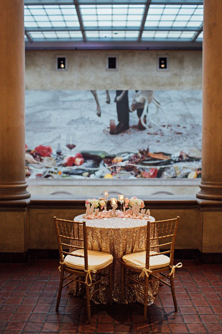 The Gold Sequin Sweetheart Table At A Worcester Art Museum Wedding Photo By Erica Ferrone