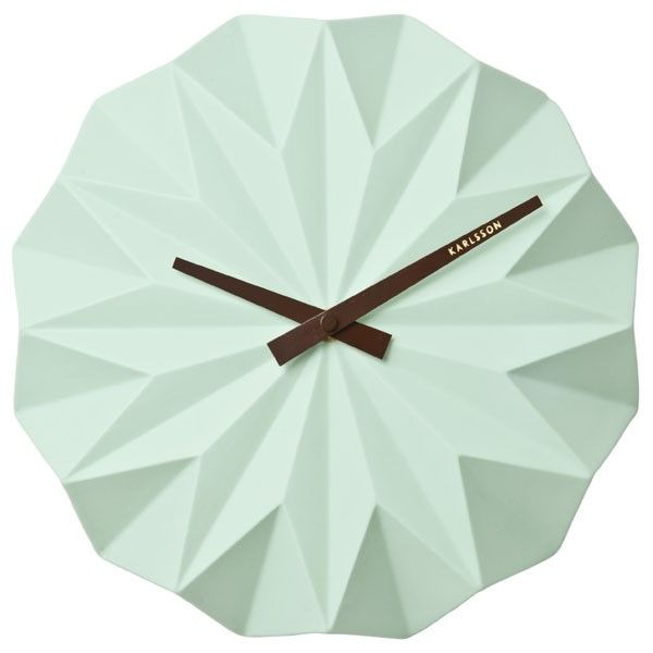 Karlsson Origami Wall Clock - Mint Green - faceted ceramic clock