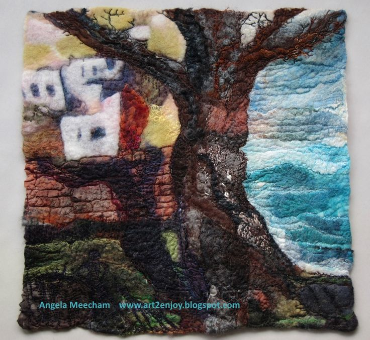 Handmade felt, with stitching Evening walk, in Greece.
