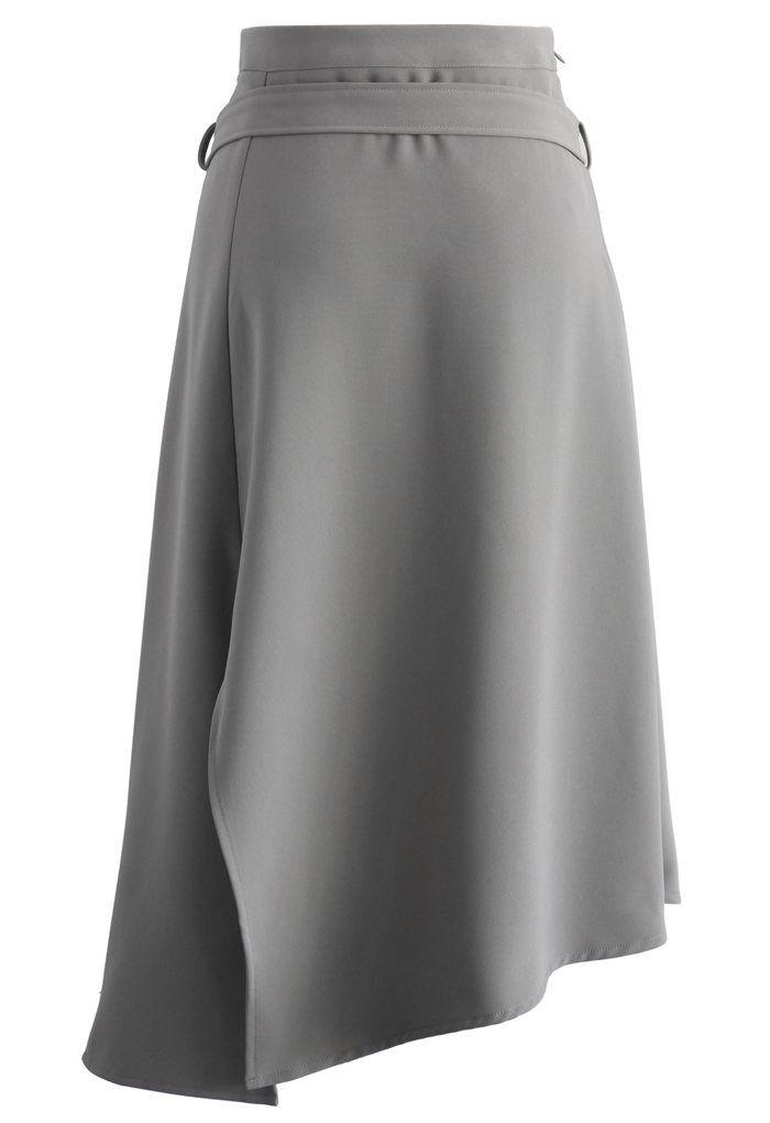 Bravo Split Hem Midi Skirt in Grey - Retro, Indie and Unique Fashion
