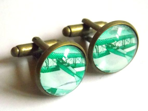 #green #airplane #cufflinks #custom #personalized #vintage #style #Wedding cufflinks #Groom #bestman #groomsmen #love #personalized #statement #fathersday #anniversary cufflinks jewelryagnes.etsy.com