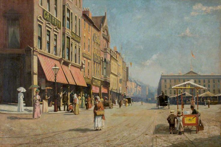 Old Market Square, Nottingham, 1889 by Harry A. Brownsword Oil on canvas, 100.5 x 151.5 cm Collection: The University of Nottingham