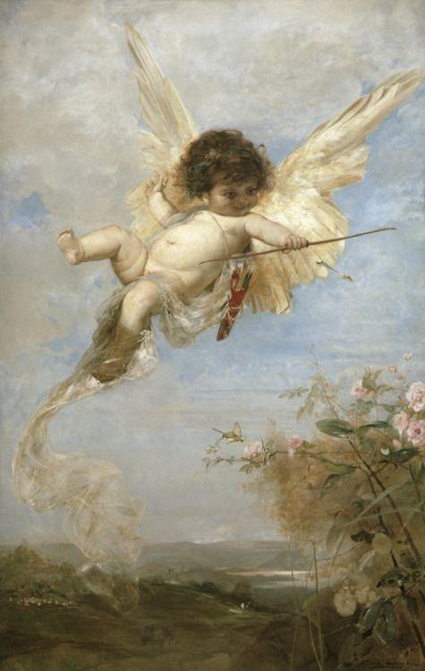 Julius shoots with his bow, Julius Kronberg: Baby Angel, Green Arrows, Cupid Shoots, Julius Kronberg, My Heart, Angel 14, Cherub Paintings, Angel Watches, Shoots Heart