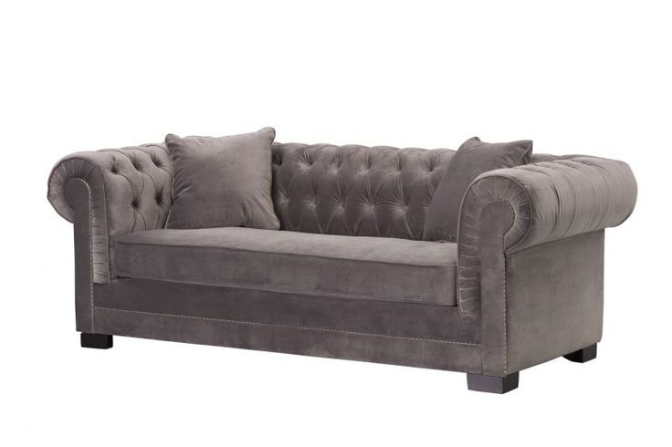 Dekoria, Sofa Chesterfield Classic Velvet Dark Grey  #dekoriapl #sofa #Chesterfield #aksamit #material #design #livingroom