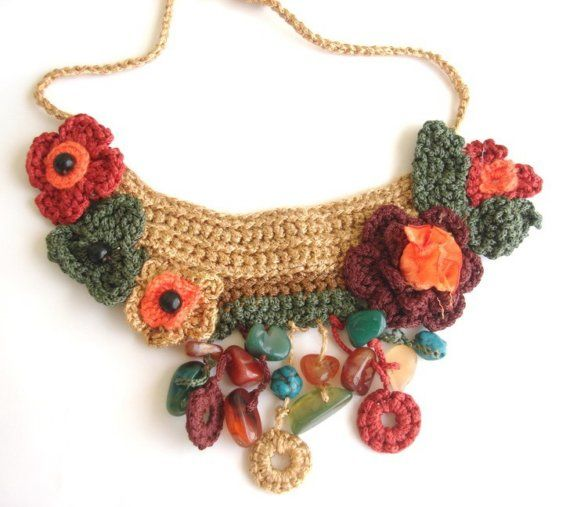 COLORFUL FLORAL WEAVE CROCHET BIB NECKLACE ♥ by seragun on Etsy