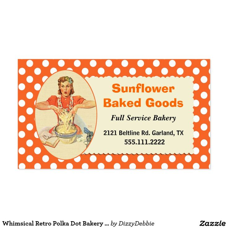 Whimsical Retro Polka Dot Bakery Business Card