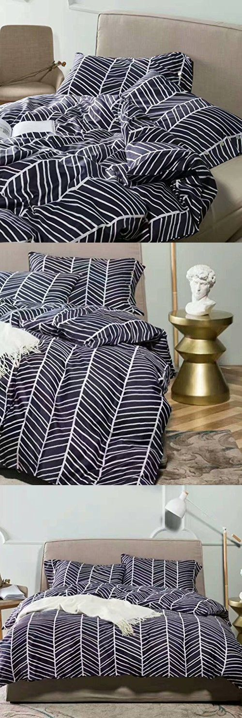 Minimalist Abstract Striped Duvet Quilt Cover Dusty Taupe Tan Light Grey Geo Brush Stroke Pattern 100-percent Cotton Sateen 400TC 3 Piece Bedding Set (Queen, Navy Blue)