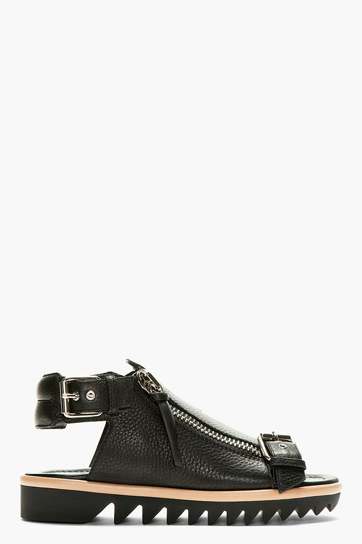 Giuseppe Zanotti Black Grain Leather Olmo Zip Sandals