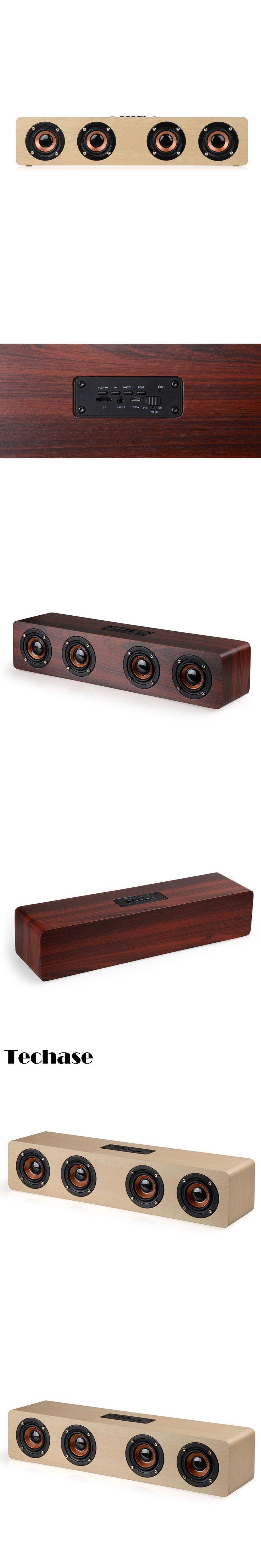 Techase HiFi Wooden Bluetooth Speaker Soundbar Subwoofer TF Card Speakers Parlante Bluetooth Portatil Caixa De Som Loudspeaker