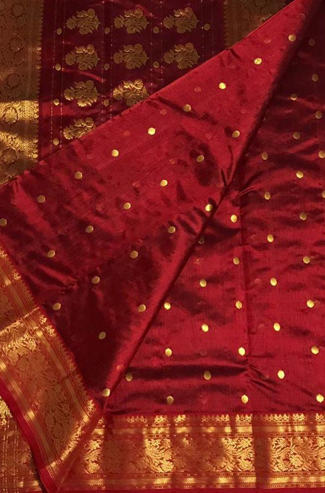 Buy online Red Handloom Chanderi Pure Silk Ghani Booti Saree 3