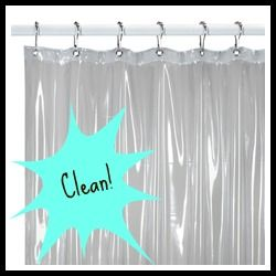 Clean Your Plastic Shower Curtain Liner: throw it in the washing machine with detergent, a few towels, and a 1 c. vinegar on a warm water cycle. Hang dry.