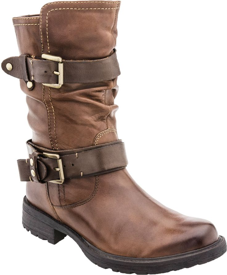 This mid-calf boot is all the rage this season.  The dual straps on the Earth Everwood means this bootie has a fun flair.