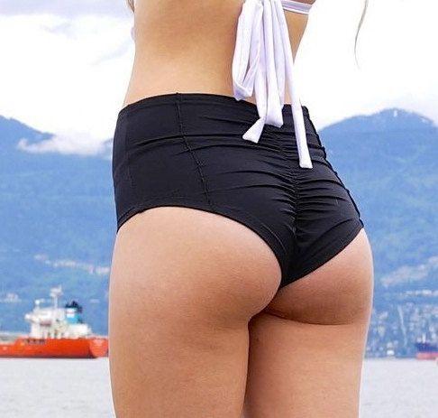 Black High Waist Tailored Cheeky Bikini Bottoms