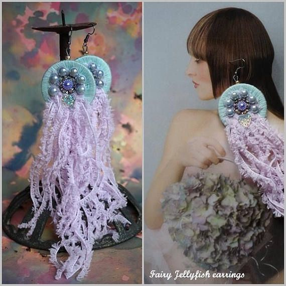 FAIRY JELLYFISH Earrings Pastel Dream shoulder duster Artisan
