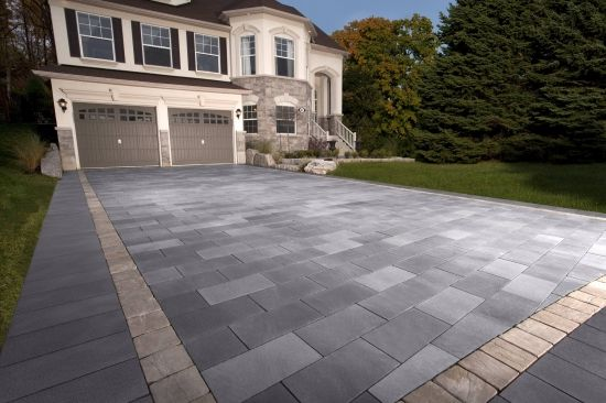 Paver Driveway -- I like the different shades of grey (not the tan border thought)