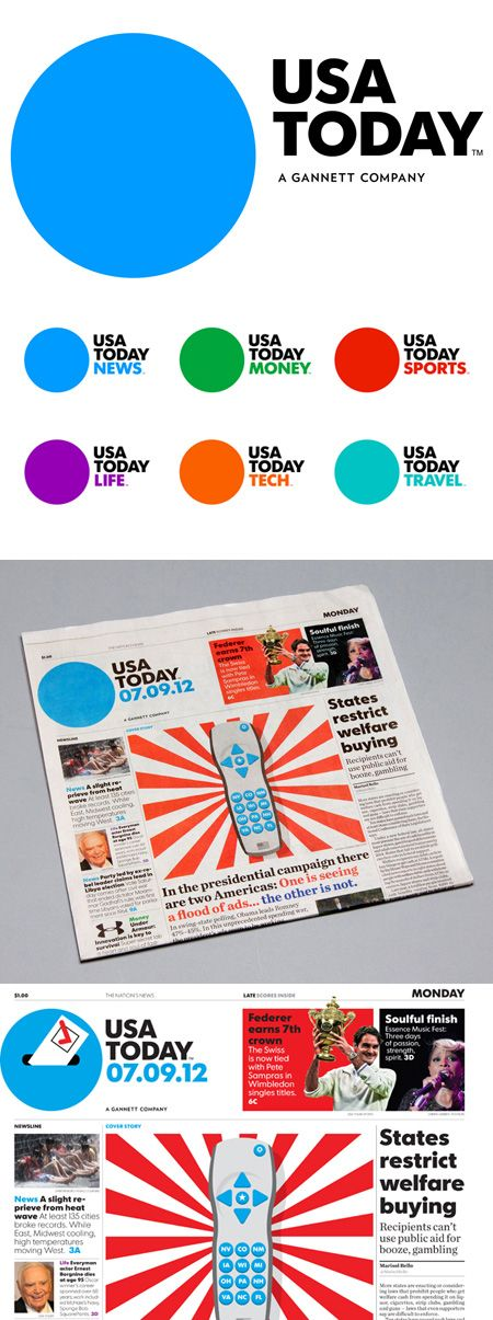 USA TodayRedesign. It's incredibly simple, yet still maintains the integrity of its original design; a contemporary evolution that works.
