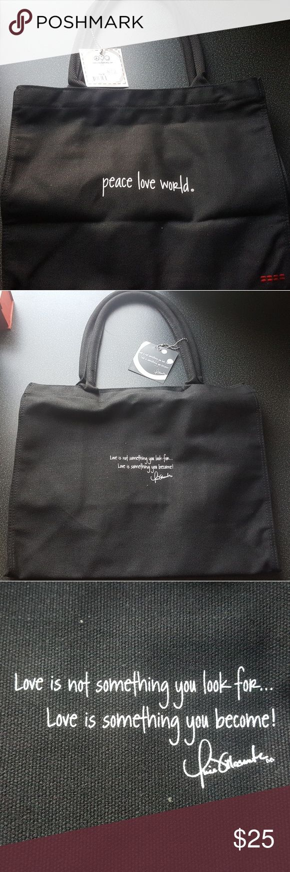 Peace Love World, CANVAS TOTE BAG W/ Gift Brand new never been used with original tag.       GIFT: 3 Bracelets PLW or 1 PLW sticker of your choice. SKU: 6089001-BLACK-LVRIDE-0/S Peace Love World  Bags Totes
