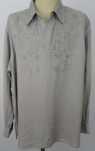 Mens-Structure-Shirt-100-Linen-XL-Embroidered-Tunic-V-Neck-Beach-Boho-Hippie #boho #tunic #hippie #menstunic #embroidered #linen