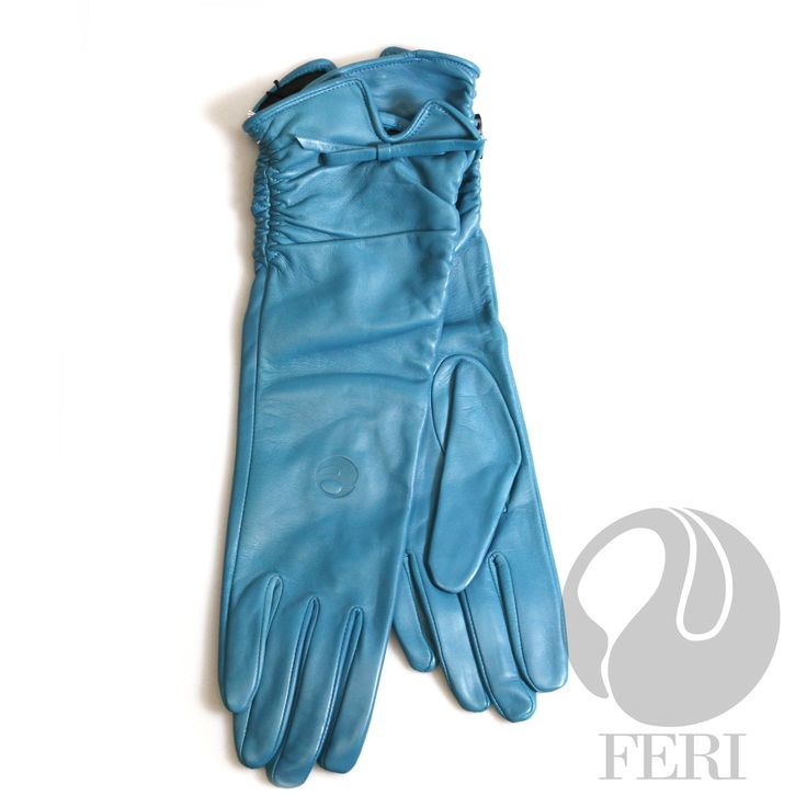 "FERI Wispa - Gloves For fitting your FERI Gloves - measure around the palm of your hand in inches which is equivalent to your glove size. Then choose the size accordingly.  - Ladies lambskin leather teal gloves - Nylon lining - Dimension: 14"" x 4.5""  Invest with confidence in FERI Designer Lines."