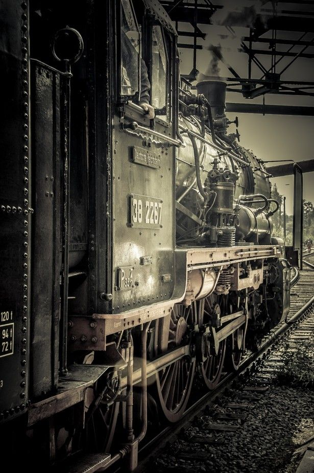 Deutsche Reichsbahn steam engine, Landschaftspark Duisburg, Germany