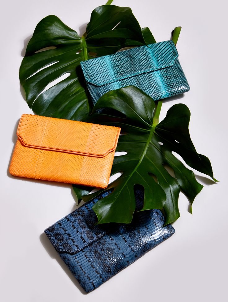 Baraboux SS16   the E6 clutch in Turquoise Ayers, Peach Python & Denim Ayers