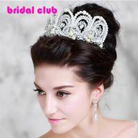 Bridal jóias artesanais pérola cocar enfeites de cabelo dobrável grandes europeus Tiaras de casamento cabelo crown
