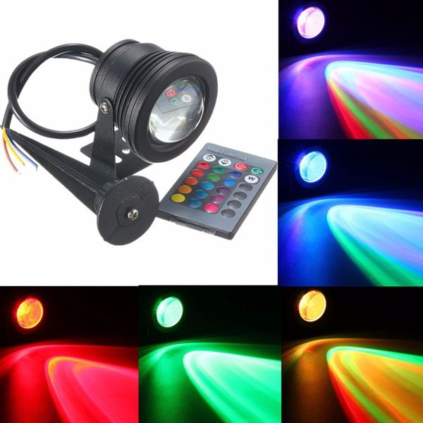 Led Waterproof Ip68 10w Rgb Flood Light Fountain Pool Pond Under Water Spot Lightt Remote Controller Flood Lights Fountain Lights Led Flood Lights