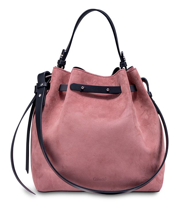 Pink and black leather bucket bag, 80' style made in Italy by Caleidos. Bag: Bouganville
