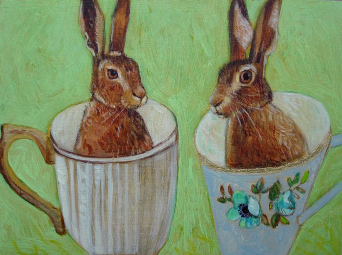 Andrea Letterie, 2 hares, Gemengde techniek op paneel, 15x20 cm, €.225,-