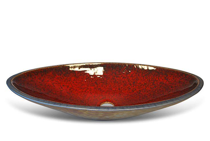 handmade glazed washbasins - red-metallic