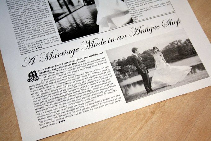 Paper Anniversary Gift Idea - A special wedding anniversary memento filled with the couple's love story, a love letter from wife to husband, lyrics of their first dance and photos preserved on paper that is designed in newspaper style ♥