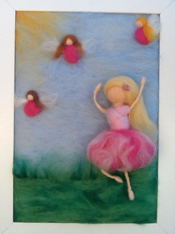 Waldorf Art  Dancing with Fairies Needle Felted Painting  by kniteeney on Etsy, $115.00