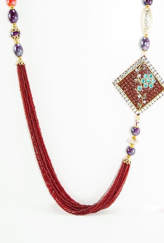 Ruby Brooch Necklace Set