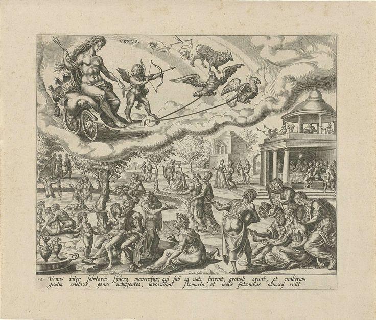 Harmen Jansz Muller | De planeet Venus en haar kinderen, Harmen Jansz Muller, Joannes Galle, 1566 - 1570 | Venus en Amor rijden in een wagen aan de hemel, getrokken door twee vogels. De tekens van Weegschaal en Stier geven aan welke mensen tot de invloedssfeer van Venus behoren. De mensen, die onder dit sterrenbeeld geboren zijn, geven zich over aan een plezierig leven en erotiek. In een landschap wordt gevreeën, gebaad, gemusiceerd, in paren gewandeld of rond een gedekte tafel gegeten…