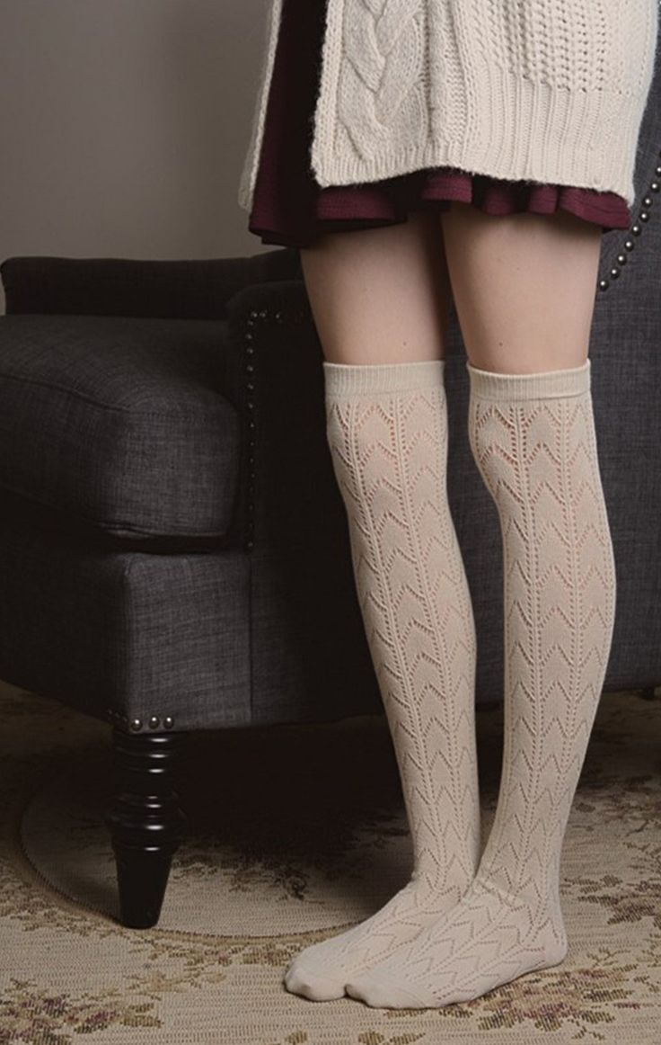 Fashion look from june 2014 featuring thigh high hosiery purple - Knit Boot Socks 4 Colors