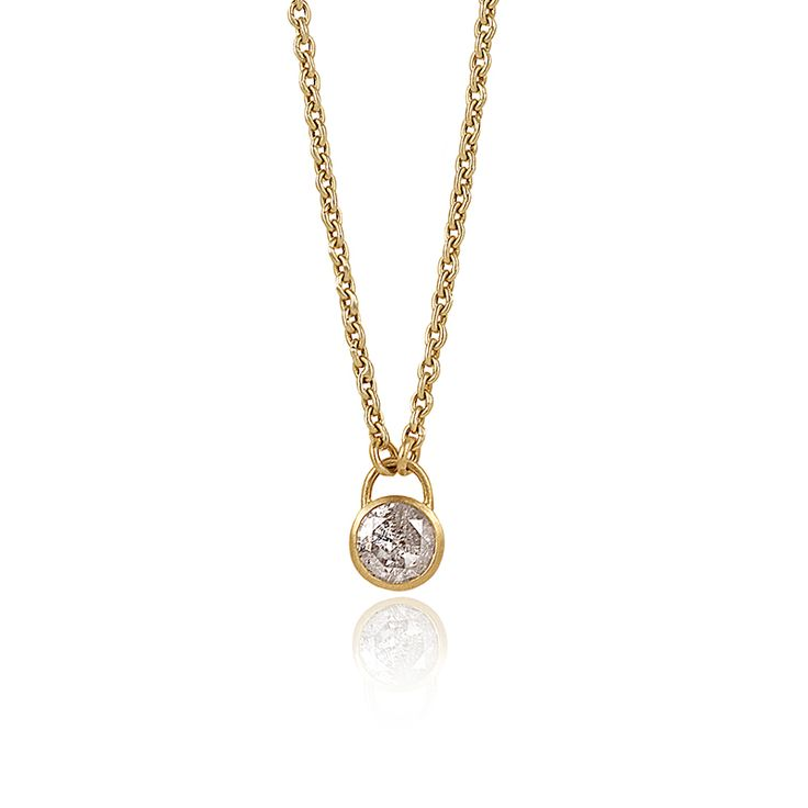 PADLOCK ROUND DIAMOND PENDANT NECKLACE    18K gold chain with 0.99ctw diamond set in 22K gold