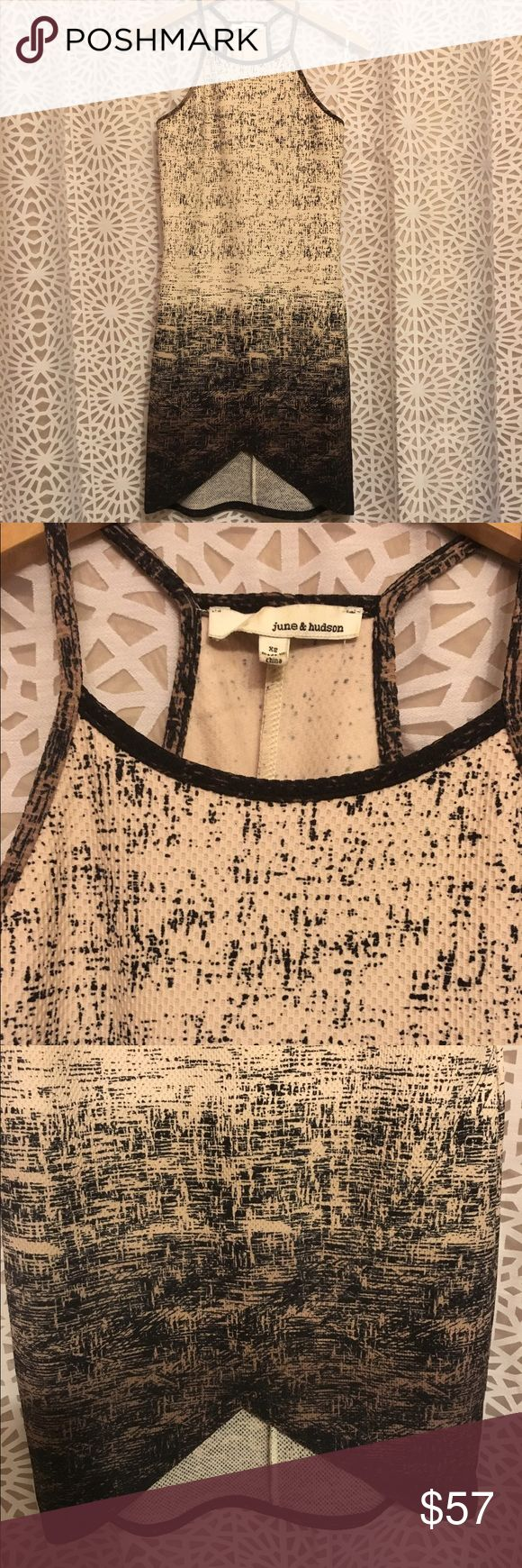 June & Hudson Printed Pique Bodycon Dress Cream and brown bodycon dress with black speckled print and pique texture. High neckline, with a cutout skirt. Mid length. Size XS. Excellent condition, no flaws! June & Hudson Dresses