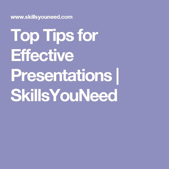 Top Tips for Effective Presentations | SkillsYouNeed