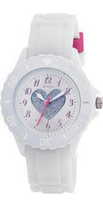Mooi voor meiden, dit witte horloge met de afbeelding van een hart in zilver glitter.