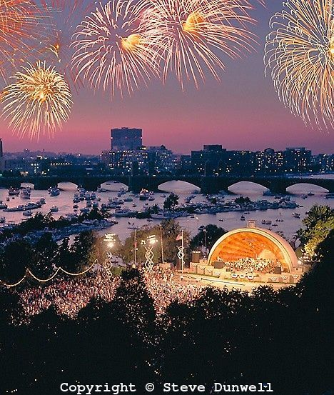 Esplanade in Boston.  Fourth of July fireworks are spectacular!  Boston Symphony was in the house.