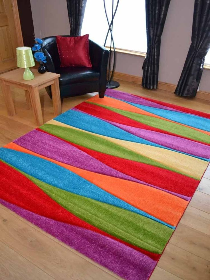 Modern Thick Dense Pile Bright Coloured Soft Wavy Stripe Rugs Long Hall Runners in Home, Furniture & DIY, Rugs & Carpets, Door…