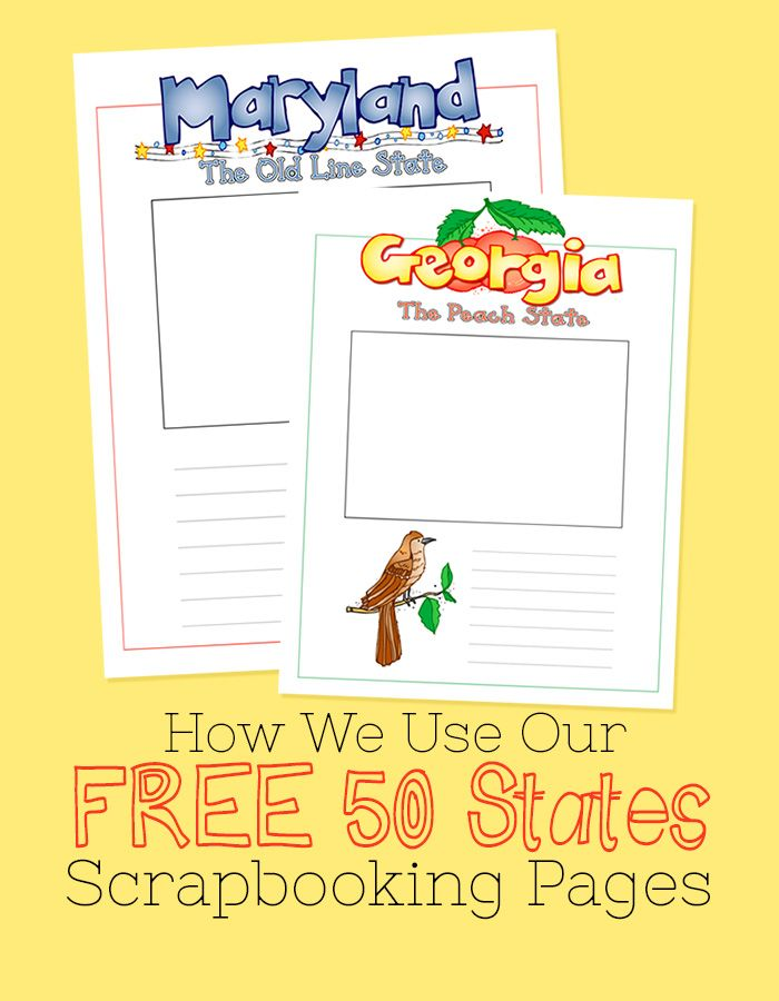 How We Use Our Free 50 State Scrapbooking Pages. US Geography scrapbooking pages for homeschool geography.