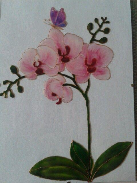 Kézzel festett orhideás üvegkép