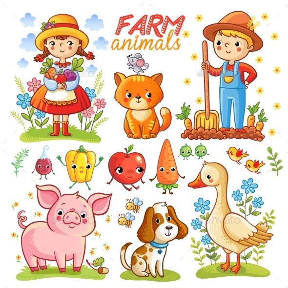Farm cartoon set with farm animals, vegetables and characters. Pepper isolated on white background. Vector illustration.