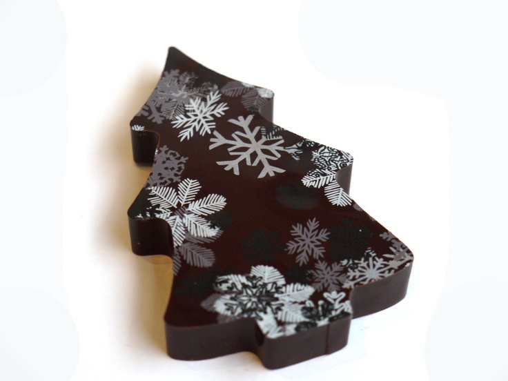 Christmas Tree, hand made with Valrhona dark or milk chocolate with a cocoa butter decoration. Gorvett & Stone, England.