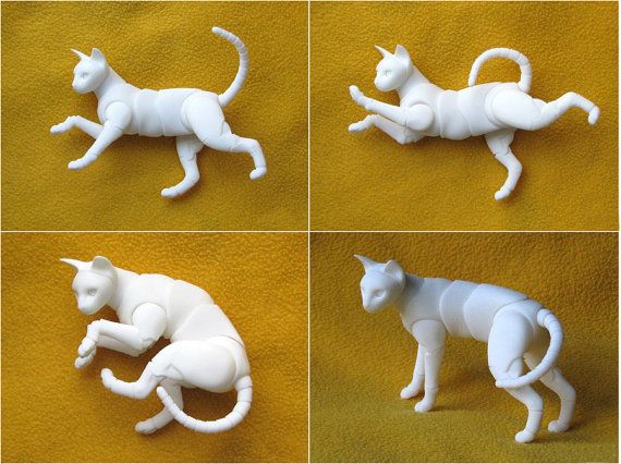 Realistic BJD cat Khao Manee. Size in the back 4-10cm. Color - white (no paint)…