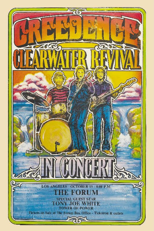 Vintage CCR Creedence Clearwater Revival concert poster. - Hippie, Woodstock, classic rock.