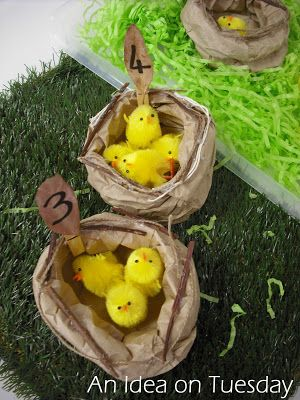 An idea on Tuesday: Paper Bag Nests #earlymath #spring