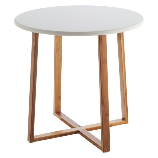 DREW Bamboo and white lacquer large side table