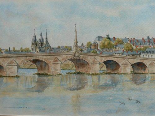Blois-le-pont-46x31-aquarelle